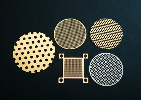 Five photo etched metal screens showcasing the versatility and precision of the process.