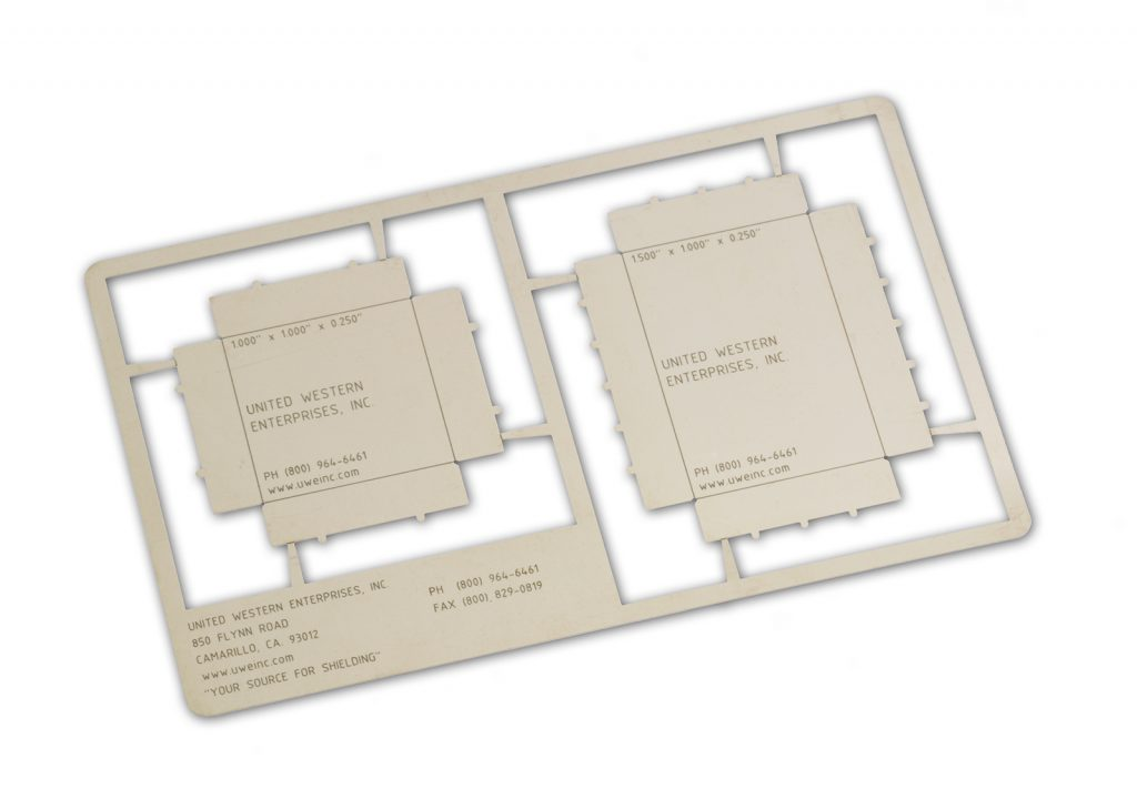 Board level shielding parts produced by UWE with photochemical etching.
