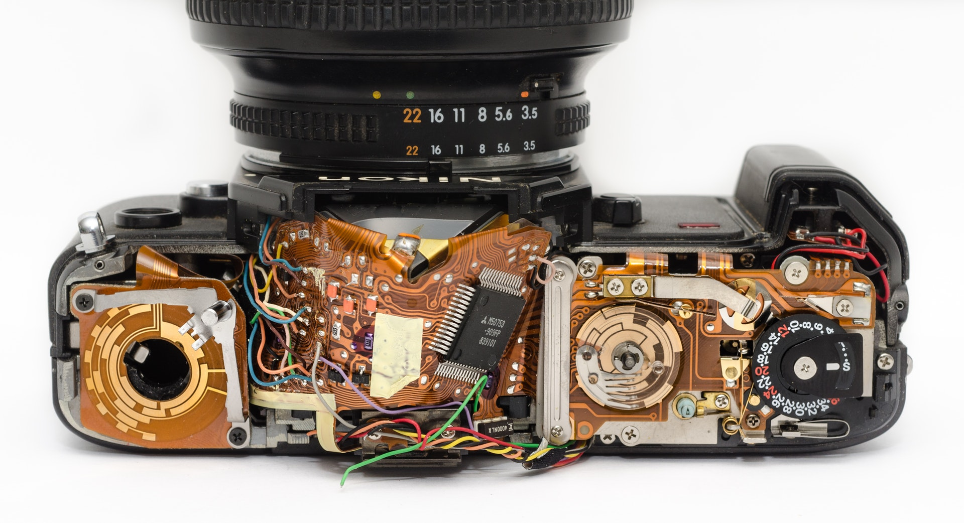 inside look at electronic components of digital camera