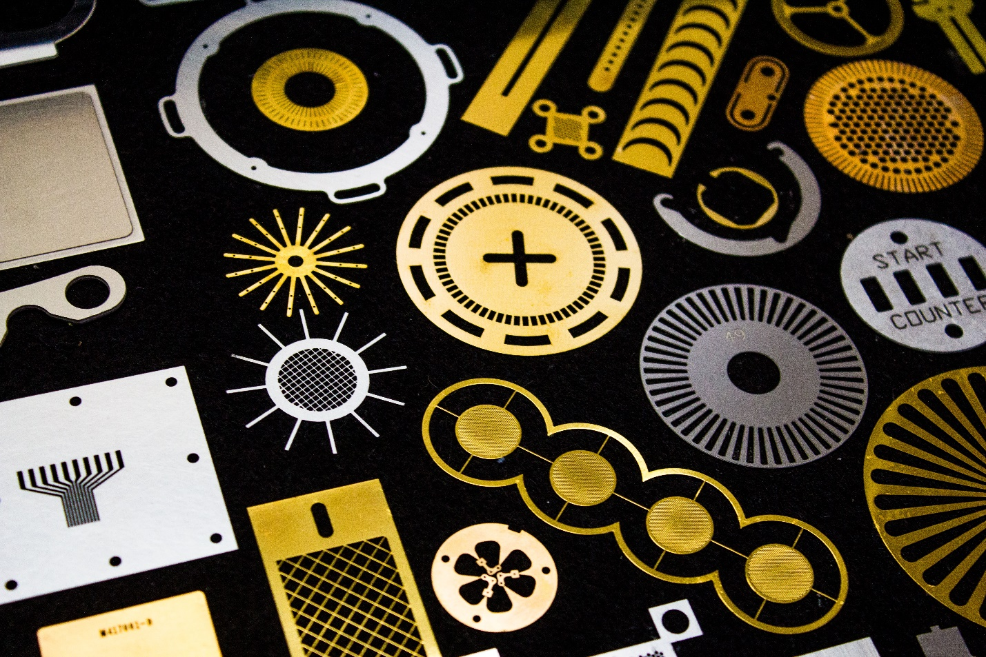 A picture showing many possible types and shapes of photo etched parts.